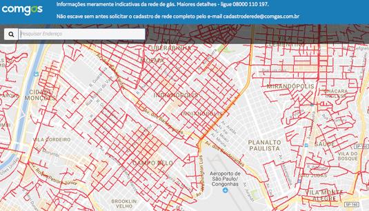Dados estão disponíveis em www.comgas.com.br/nossarede