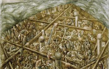 Navio de emigrantes, 1939/41 óleo com areia sobre tela 230 x 275 cm